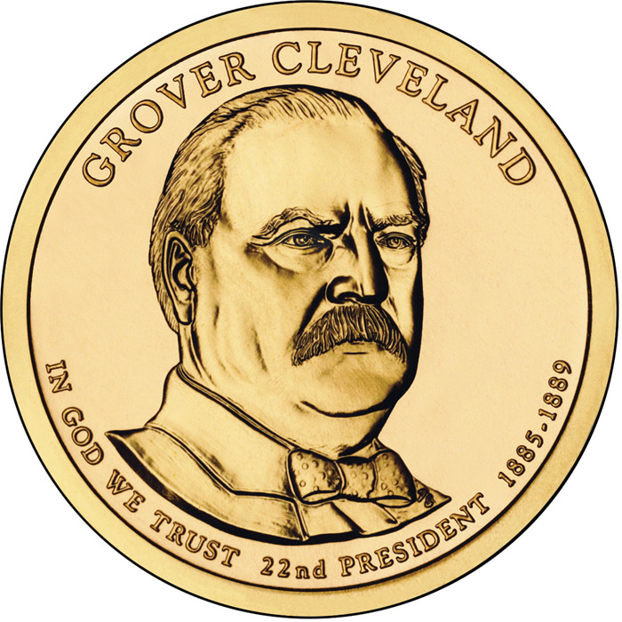 Image of Grover Cleveland (1885-1889) – 1 dollar coin USA 2012.  The Nordic gold (CuZnAl) coin is of Proof, BU, UNC quality.