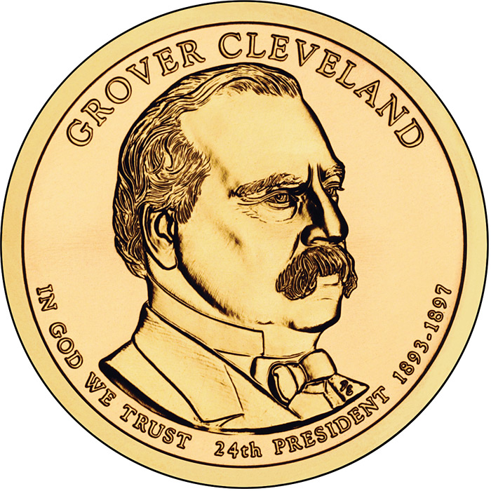 Image of 1 dollar coin - Grover Cleveland (1893-1897) | USA 2012.  The Nordic gold (CuZnAl) coin is of Proof, BU, UNC quality.