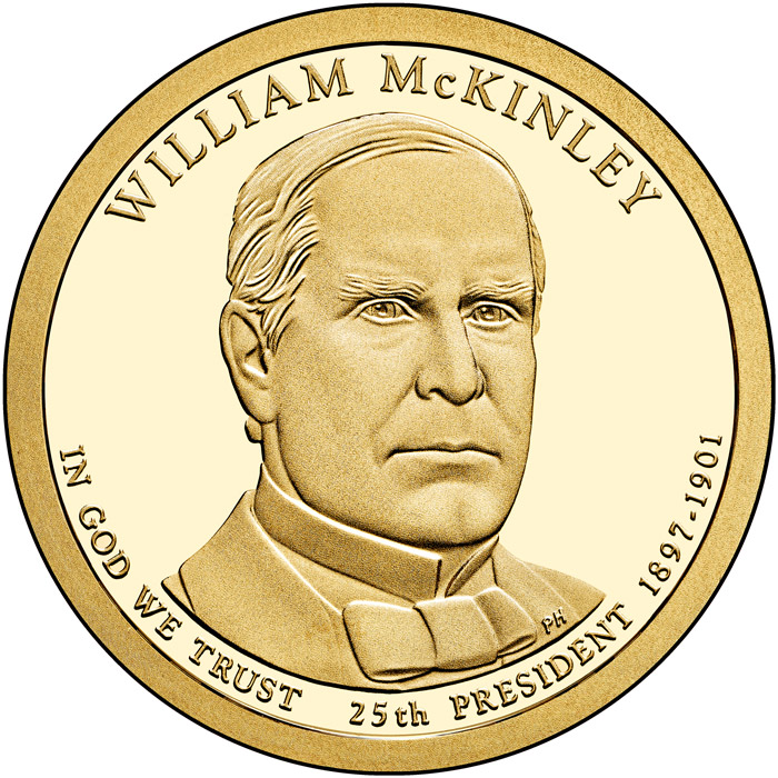 Image of 1 dollar coin - William McKinley (1897-1901) | USA 2013.  The Nordic gold (CuZnAl) coin is of Proof, BU, UNC quality.