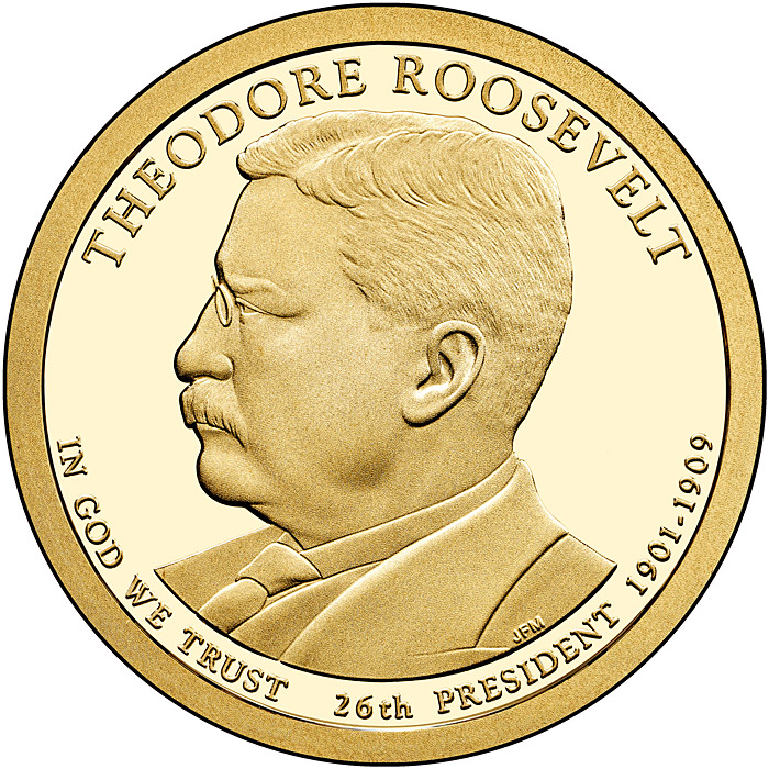 Image of 1 dollar coin - Theodore Roosevelt (1901-1909) | USA 2013.  The Nordic gold (CuZnAl) coin is of Proof, BU, UNC quality.