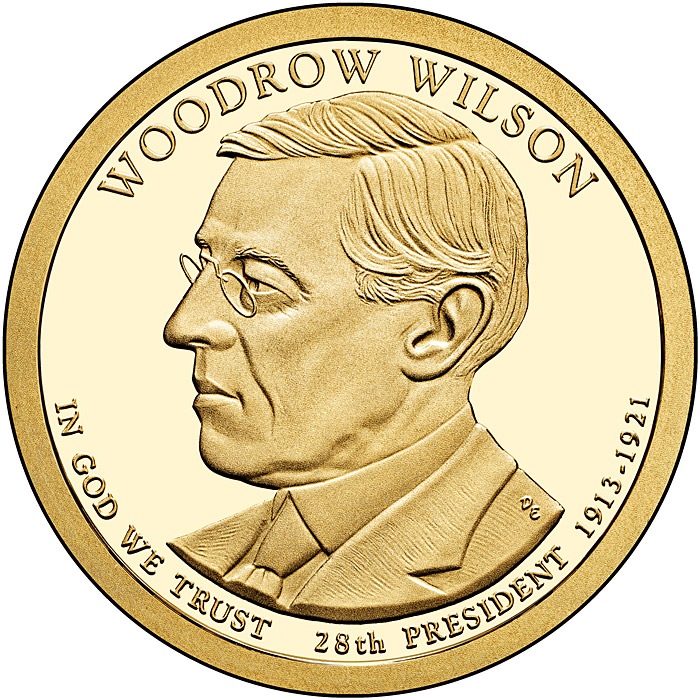 Image of 1 dollar coin - Woodrow Wilson (1913-1921) | USA 2013.  The Nordic gold (CuZnAl) coin is of Proof, BU, UNC quality.