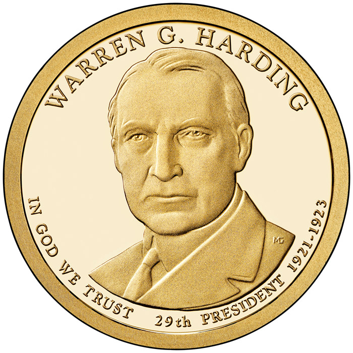 Image of 1 dollar coin - Warren Harding (1921-1923) | USA 2014.  The Nordic gold (CuZnAl) coin is of Proof, BU, UNC quality.