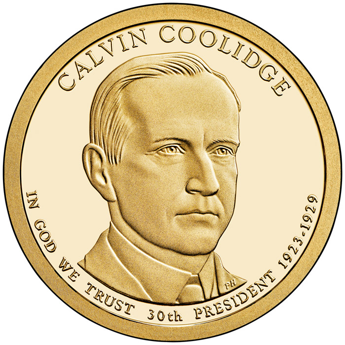 Image of 1 dollar coin - Calvin Coolidge (1923-1929) | USA 2014.  The Nordic gold (CuZnAl) coin is of Proof, BU, UNC quality.