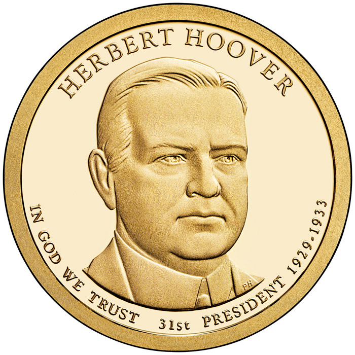 Image of 1 dollar coin - Herbert Hoover (1929-1933) | USA 2014.  The Nordic gold (CuZnAl) coin is of Proof, BU, UNC quality.