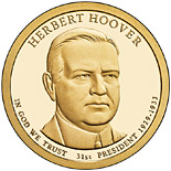 1 dollar Herbert Hoover (1929-1933) - 2014 - Series: The Presidential 1 Dollar Coins - USA