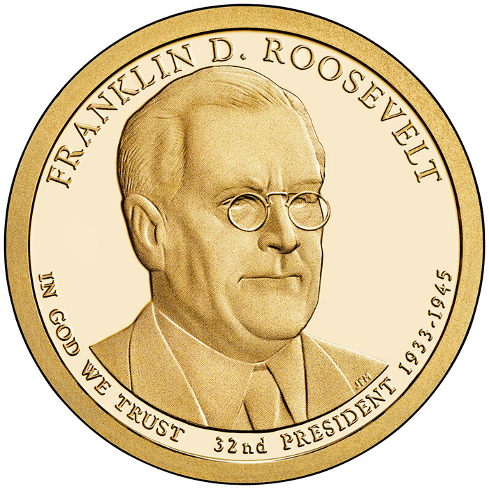 Image of 1 dollar coin Franklin D. Roosevelt (1933-1945) | USA 2014.  The Nordic gold (CuZnAl) coin is of Proof, BU, UNC quality.