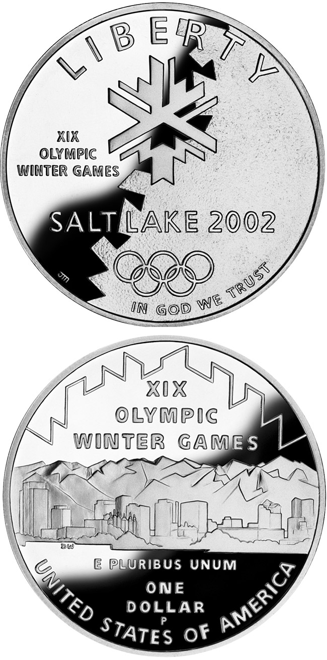 Image of 1 dollar coin - Olympic Winter Games  | USA 2002.  The Silver coin is of Proof, BU quality.