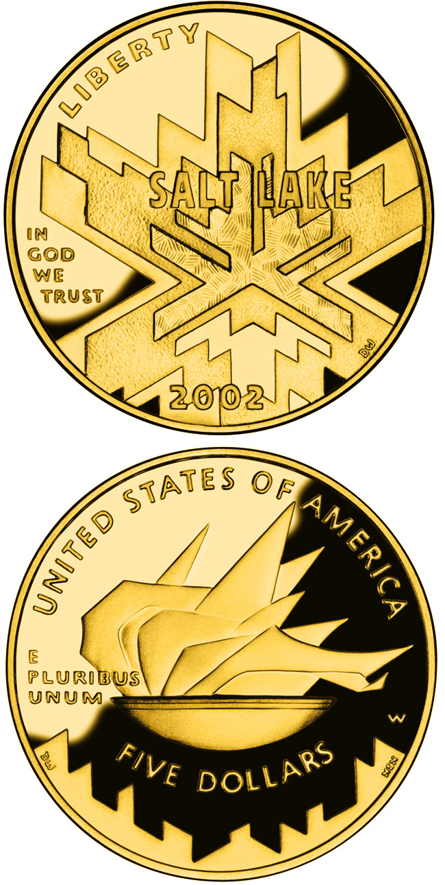 Image of 5 dollars coin - Olympic Winter Games  | USA 2002.  The Gold coin is of Proof, BU quality.