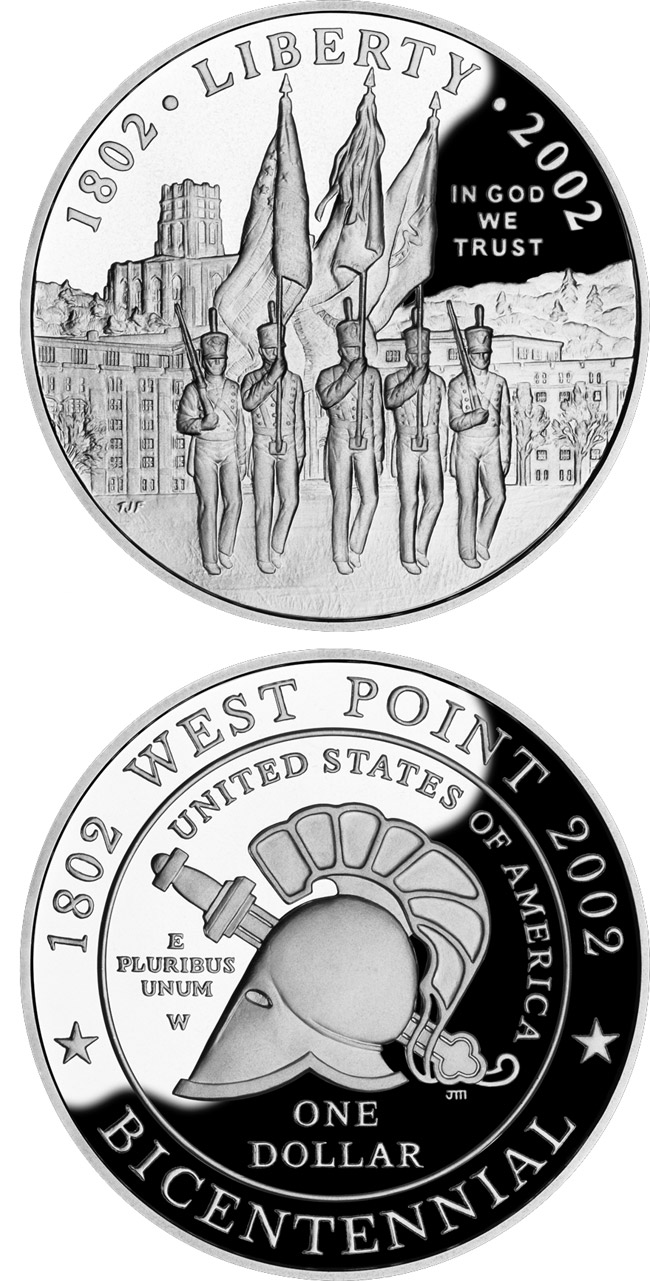 Image of West Point Bicentennial  – 0.5 dollar coin USA 2002.  The Copper–Nickel (CuNi) coin is of Proof, BU quality.