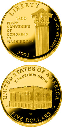 Image of 5 dollars coin - U.S. Capitol Visitor Center  | USA 2001.  The Gold coin is of Proof, BU quality.