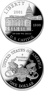 1 dollar coin U.S. Capitol Visitor Center  | USA 2001