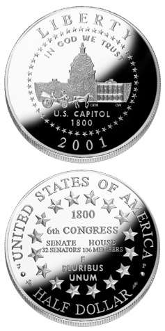 Image of 0.5 dollar coin - U.S. Capitol Visitor Center  | USA 2001.  The Copper–Nickel (CuNi) coin is of Proof, BU quality.
