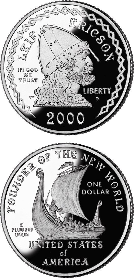 Image of 1 dollar coin - Leif Ericson  | USA 2000.  The Silver coin is of Proof, BU quality.