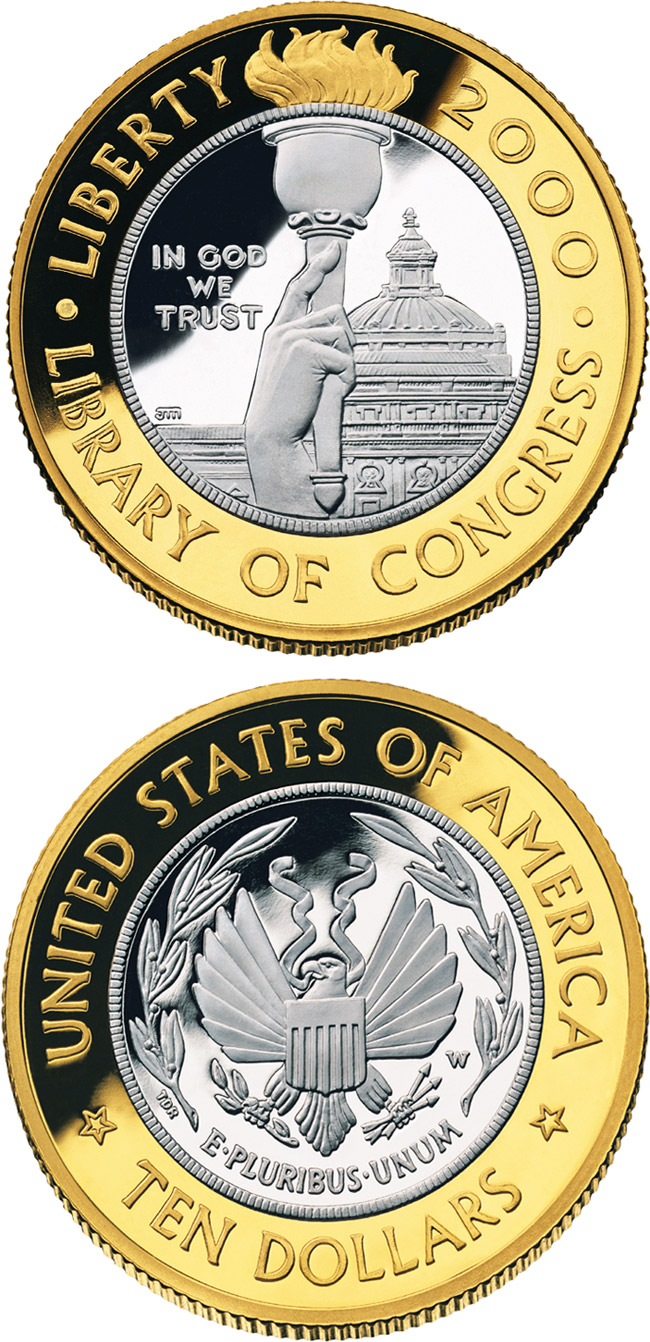 Image of 10 dollars coin - Library of Congress  | USA 2000.  The Gold coin is of Proof, BU quality.