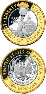 10 dollar coin Library of Congress  | USA 2000