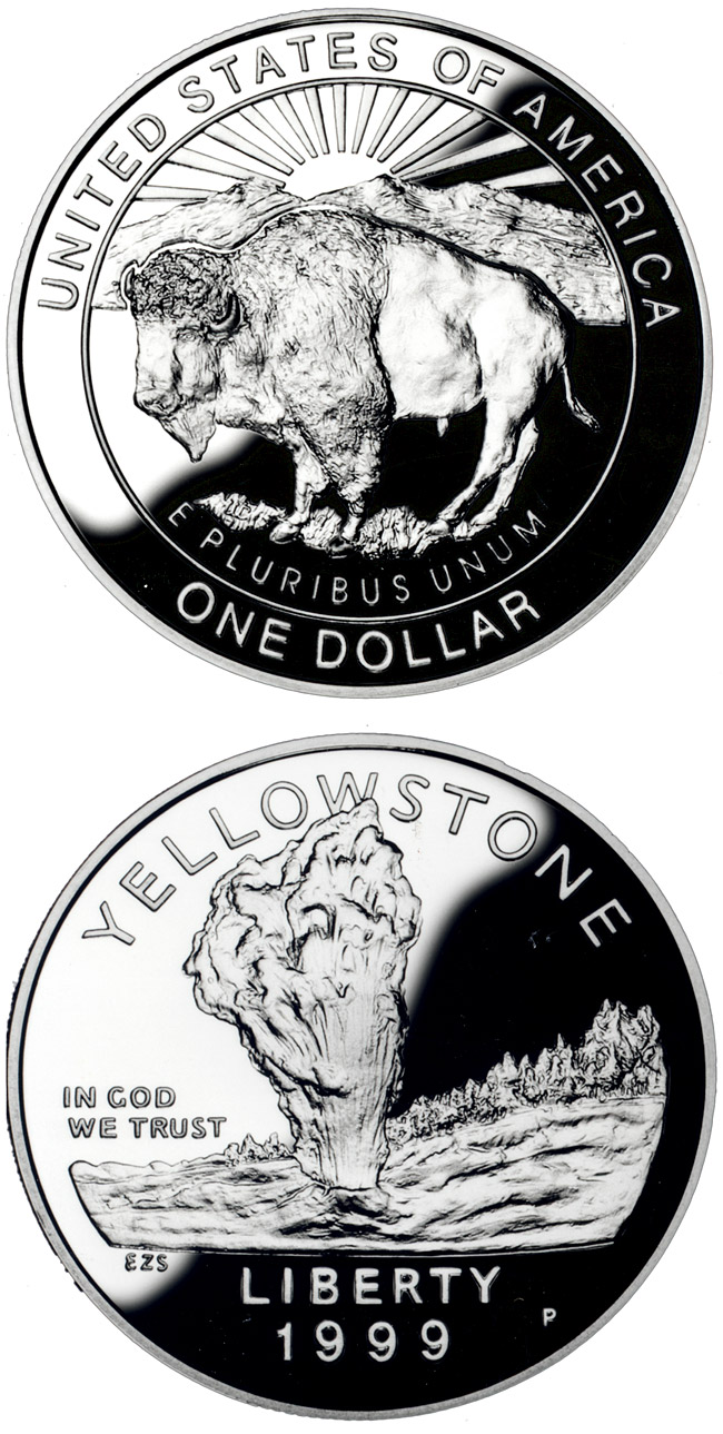 Image of 1 dollar coin - Yellowstone National Park  | USA 1999.  The Silver coin is of Proof, BU quality.