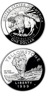 1 dollar Yellowstone National Park  - 1999 - Series: Commemorative silver 1 dollar coins - USA