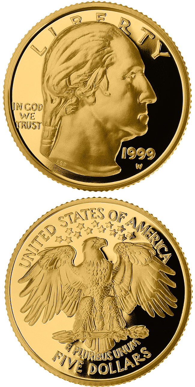 Image of 5 dollar coin George Washington  | USA 1999.  The Gold coin is of Proof, BU quality.
