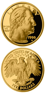 5 dollar coin George Washington  | USA 1999