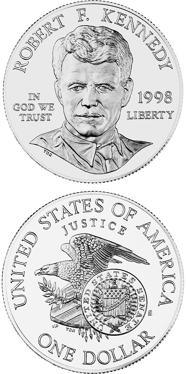 Image of 1 dollar coin - Robert F. Kennedy  | USA 1998.  The Silver coin is of Proof, BU quality.
