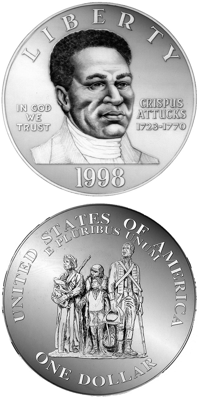 Image of 1 dollar coin - Black Revolutionary War Patriots  | USA 1998.  The Silver coin is of Proof, BU quality.