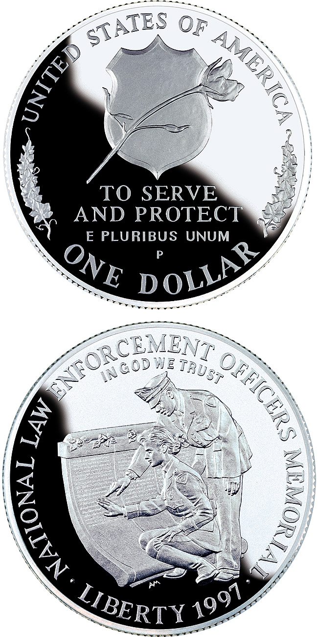Image of 1 dollar coin - Law Enforcement  | USA 1997.  The Silver coin is of Proof, BU quality.
