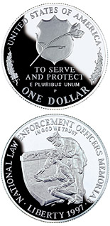 1 dollar Law Enforcement  - 1997 - Series: Commemorative silver 1 dollar coins - USA