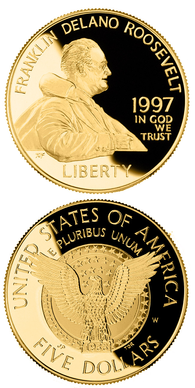 Image of 5 dollars coin - Franklin Delano Roosevelt  | USA 1997.  The Gold coin is of Proof, BU quality.