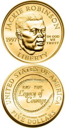 Image of 5 dollars coin - Jackie Robinson  | USA 1997.  The Gold coin is of Proof, BU quality.