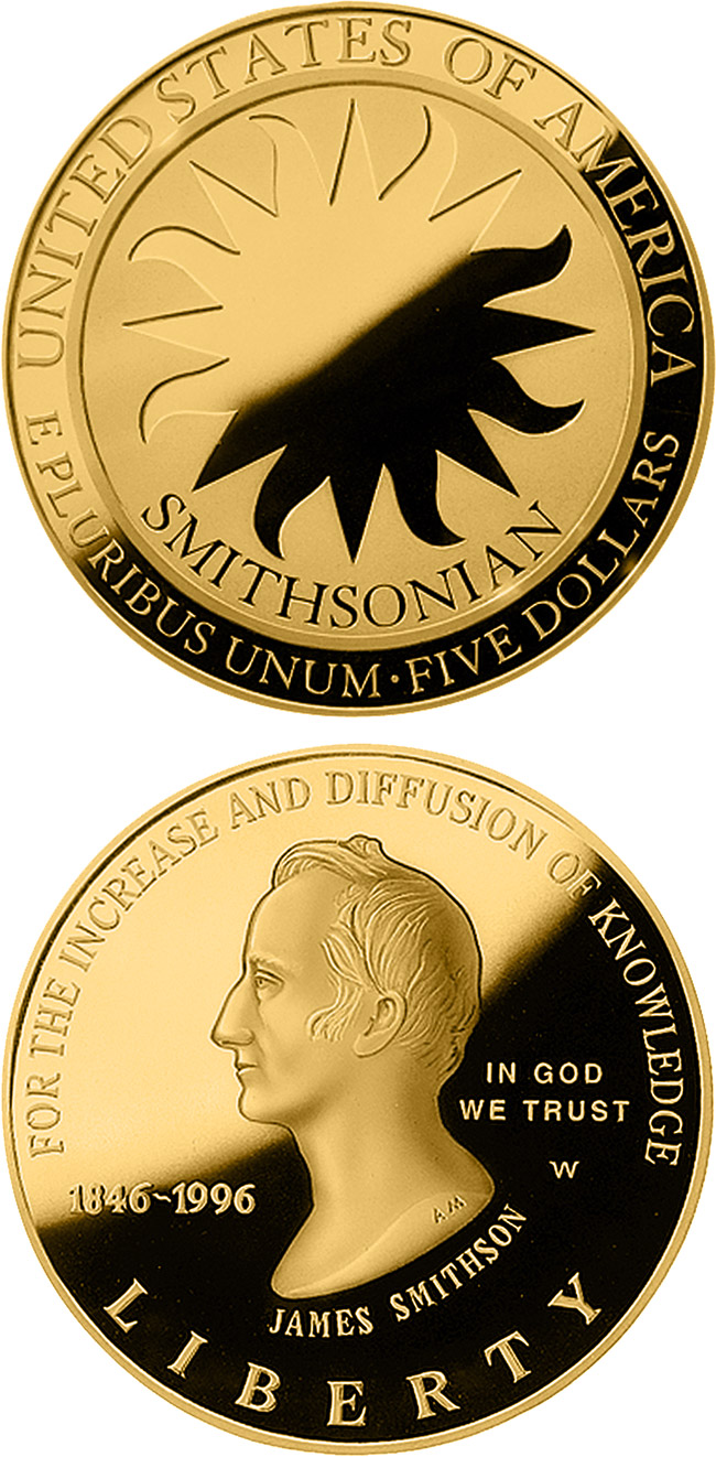 Image of 5 dollars coin - Smithsonian 150th Anniversary  | USA 1996.  The Gold coin is of Proof, BU quality.