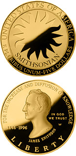 5 dollar coin Smithsonian 150th Anniversary  | USA 1996