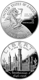 1 dollar Smithsonian 150th Anniversary  - 1996 - Series: Commemorative silver 1 dollar coins - USA