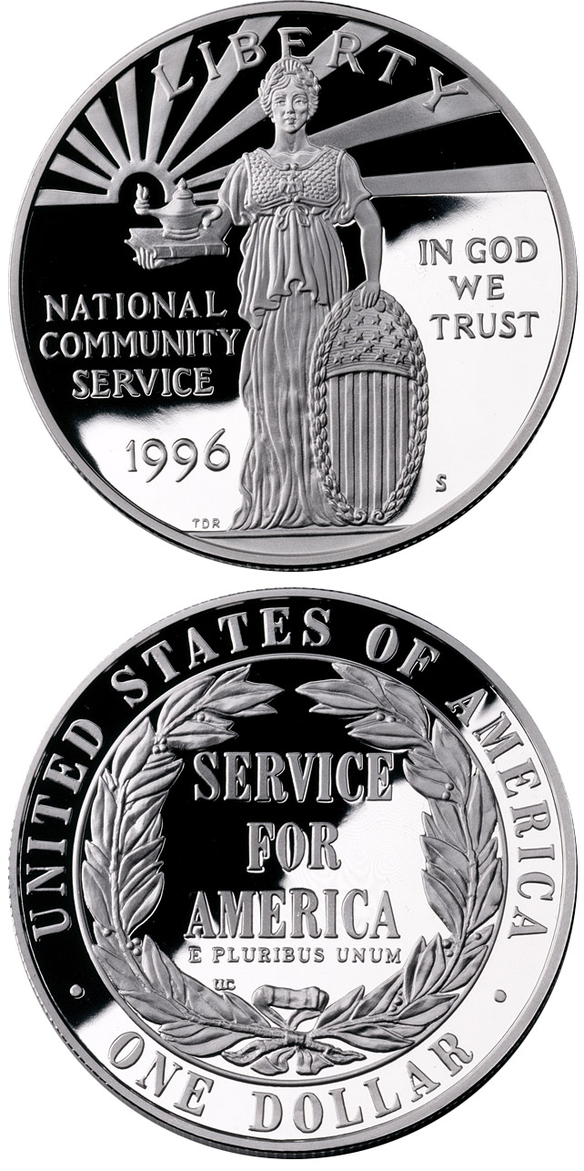 1 dollar National Community Service  - 1996 - Series: Commemorative silver 1 dollar coins - USA