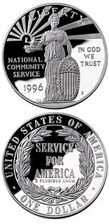1 dollar coin National Community Service  | USA 1996