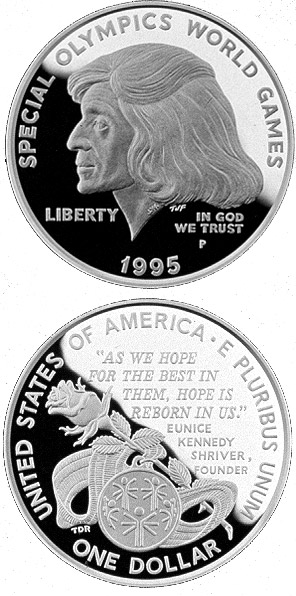 Image of 1 dollar coin – Special Olympics World Games  | USA 1995.  The Silver coin is of Proof, BU quality.