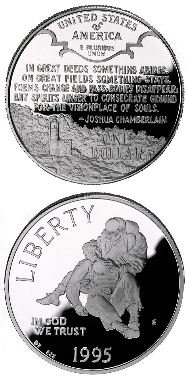 Image of 1 dollar coin - Civil War Battlefield  | USA 1995.  The Silver coin is of Proof, BU quality.