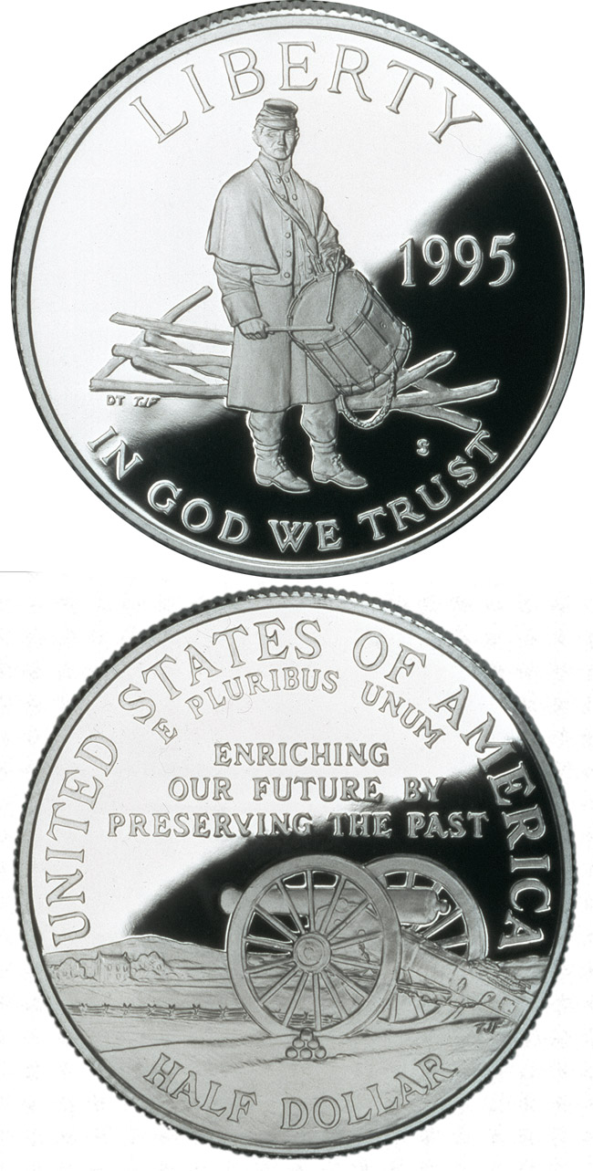 Image of 0.5 dollar coin Civil War Battlefield  | USA 1995.  The Copper–Nickel (CuNi) coin is of Proof, BU quality.