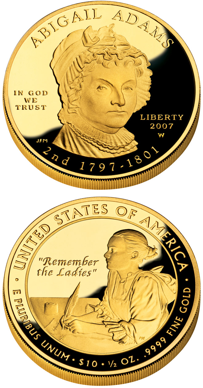 Image of a coin 10 dollars | USA | Abigail Adams  | 2007