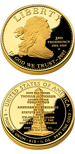 10 dollars Thomas Jefferson's Liberty  - 2007 - Series: First Spouse Gold Coins - USA