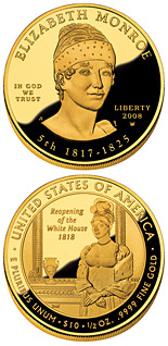 10 dollars Elizabeth Monroe  - 2008 - Series: First Spouse Gold Coins - USA