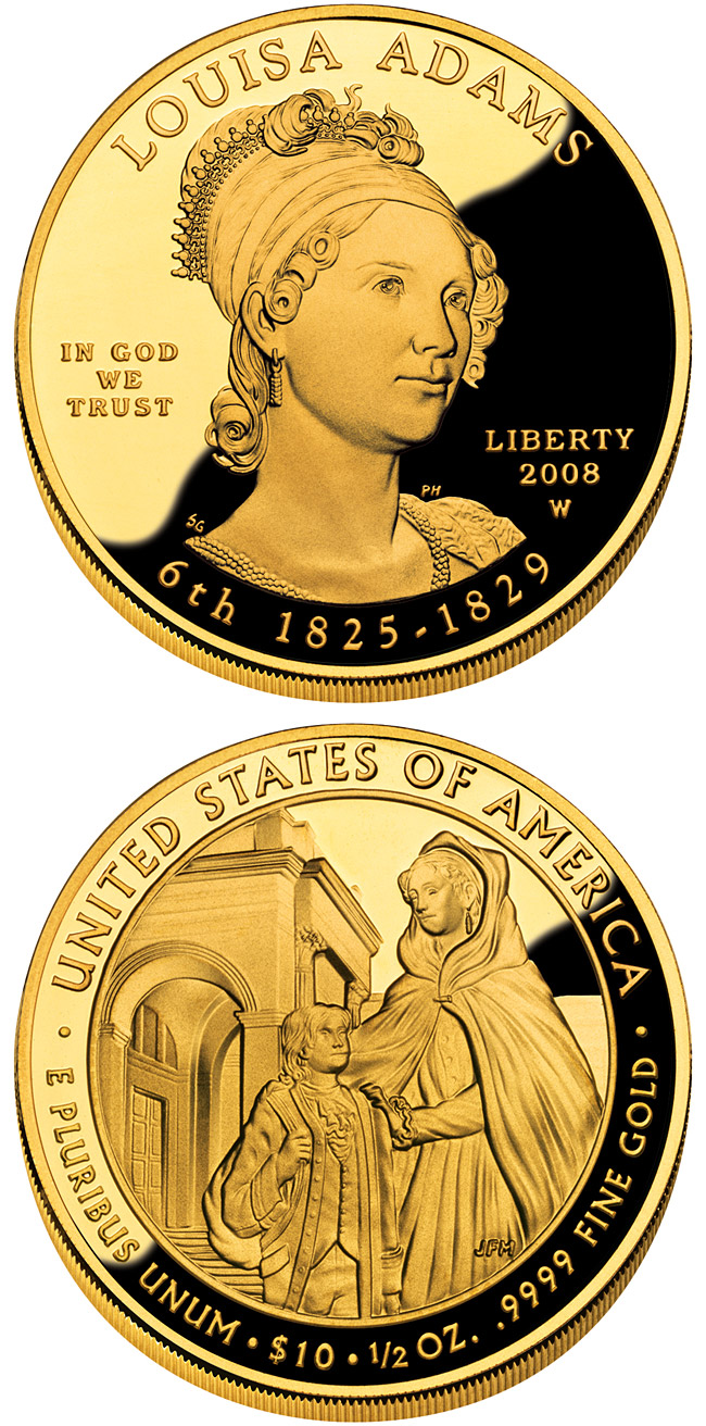 Image of 10 dollars coin - Louisa Adams  | USA 2008.  The Gold coin is of Proof, BU quality.