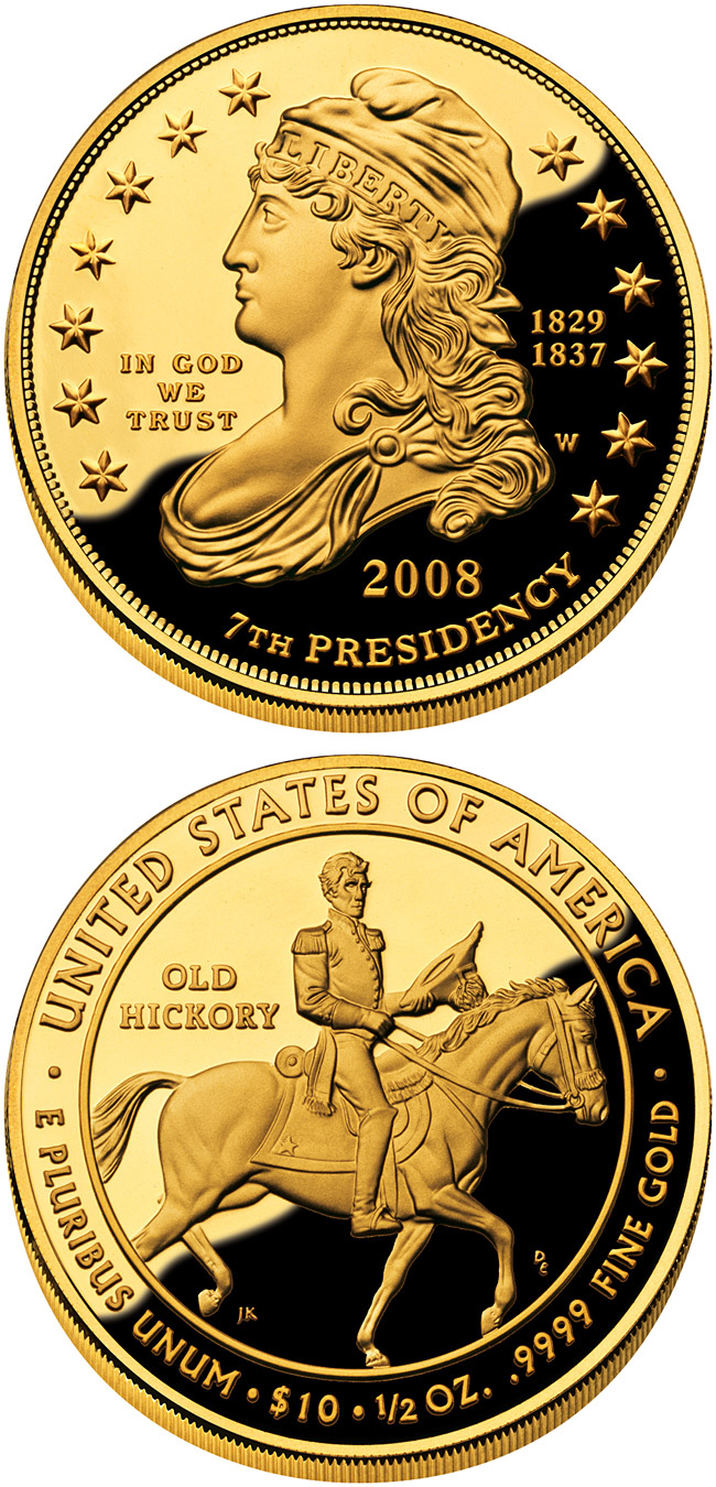 Image of 10 dollars coin – Andrew Jackson's Liberty  | USA 2008.  The Gold coin is of Proof, BU quality.