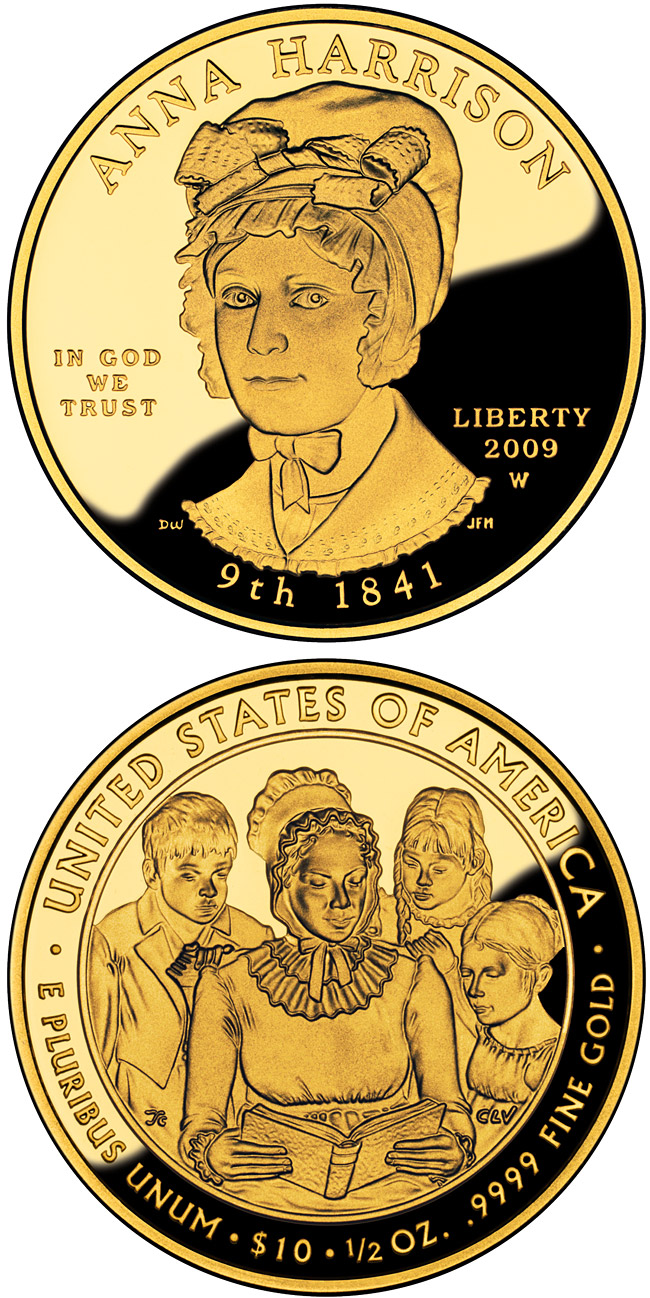 10 dollars Anna Harrison  - 2009 - Series: First Spouse Gold Coins - USA