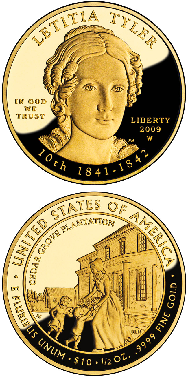 Image of 10 dollars coin - Letitia Tyler | USA 2009.  The Gold coin is of Proof, BU quality.