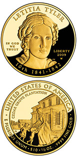 10 dollar coin Letitia Tyler | USA 2009