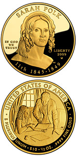 10 dollar coin Sarah Polk  | USA 2009