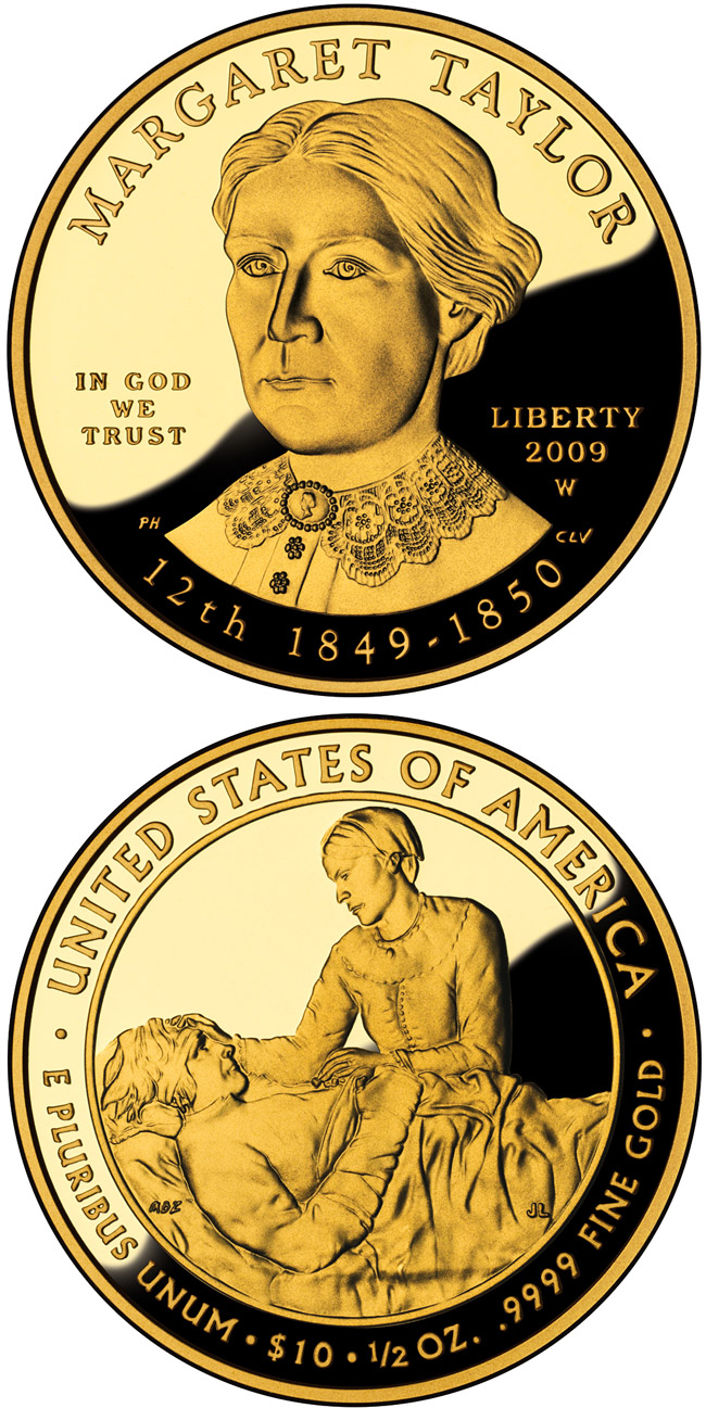 Image of 10 dollars coin - Margaret Taylor  | USA 2009.  The Gold coin is of Proof, BU quality.