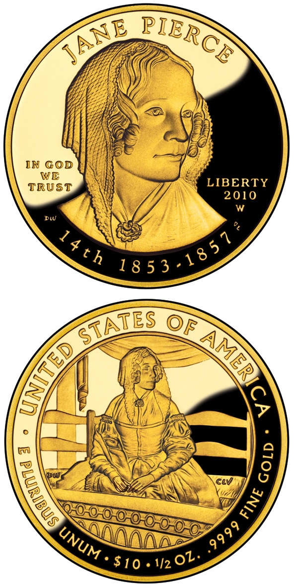Image of 10 dollars coin - Jane Pierce  | USA 2010.  The Gold coin is of Proof, BU quality.