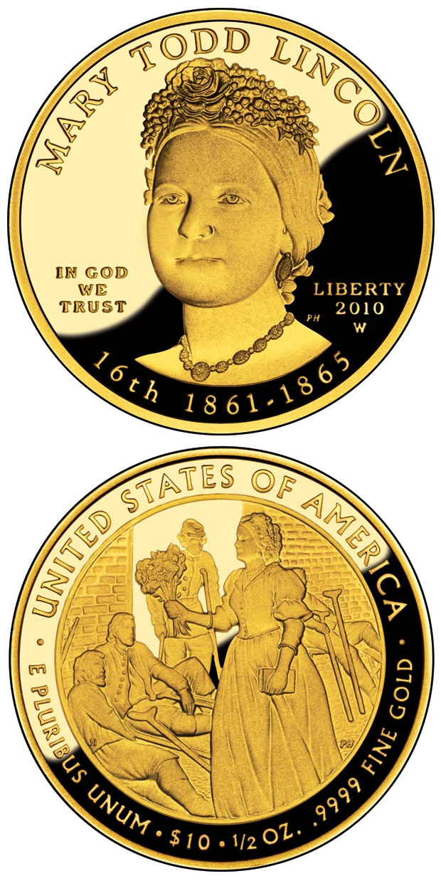 Image of 10 dollars coin - Mary Lincoln  | USA 2010.  The Gold coin is of Proof, BU quality.