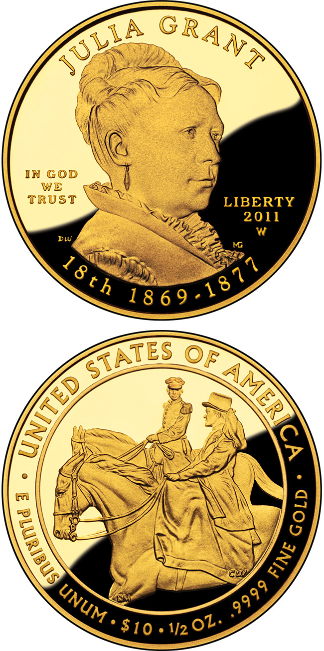 Image of 10 dollars coin - Julia Grant  | USA 2011.  The Gold coin is of Proof, BU quality.